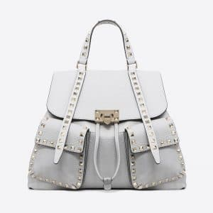 Valentino Light Grey Rockstud Backpack Bag