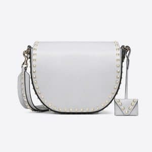 Valentino Light Grey Rockstud Crossbody Bag