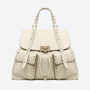 Valentino Light Ivory Rockstud Backpack Bag