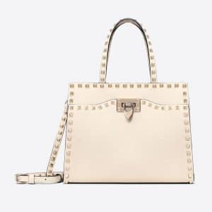 Valentino Light Ivory Rockstud Small Top Handle Bag