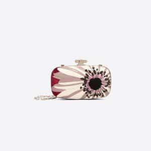 Valentino Maroon Daisy Flower Minaudière Clutch Bag