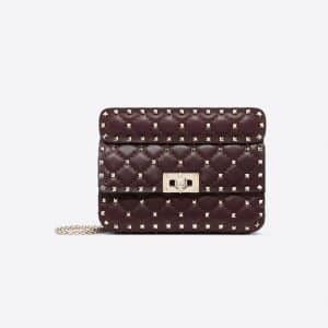 Valentino Maroon Small Rockstud Spike Bag