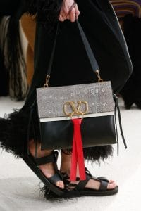 Valentino Natural/Black Lizard/Leather Shoulder Bag - Spring 2019