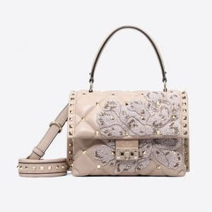 Valentino Poudre Embroidered Candystud Top Handle Bag
