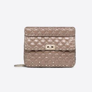 Valentino Poudre Moncler Quilted Nylon Medium Rockstud Spike Bag