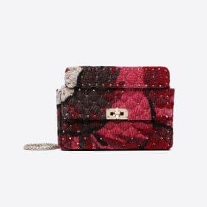 Valentino Red/Silver Embroidered Velvet Medium Rockstud Spike Bag