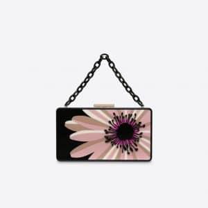 Valentino Slate Blue Daisy Flower Minaudière Clutch Bag