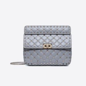 Valentino Slate Blue Medium Rockstud Spike Bag