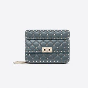 Valentino Slate Blue Small Rockstud Spike Bag