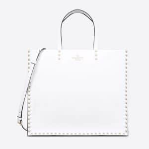 Valentino White Rockstud Trimmed Tote Bag