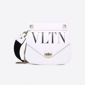 Valentino White VLTN Shoulder Strap Saddle Bag