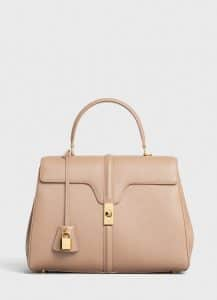 Celine Beige Grained Calfskin Medium 16 Bag