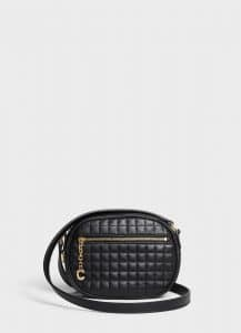 Celine Black Quilted Calfskin Small C Charm Bag