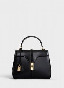 Celine Black Satinated Calfskin Small 16 Bag