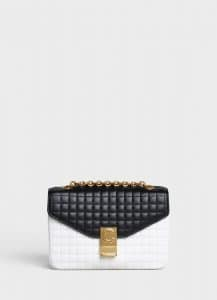 Celine Black/White Bicolour Quilted Calfskin Medium C Bag
