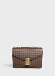 Celine Khaki Quilted Calfskin Medium C Bag