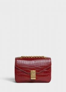 Celine Light Burgundy Crocodile Medium C Bag