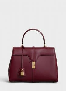 Celine Light Burgundy Satinated Calfskin Medium 16 Bag