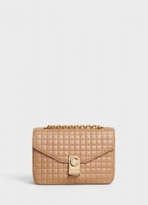Celine Light Camel Quilted Calfskin Medium C Bag