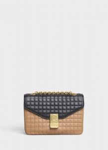 Celine Light Camel/White Bicolour Quilted Calfskin Medium C Bag
