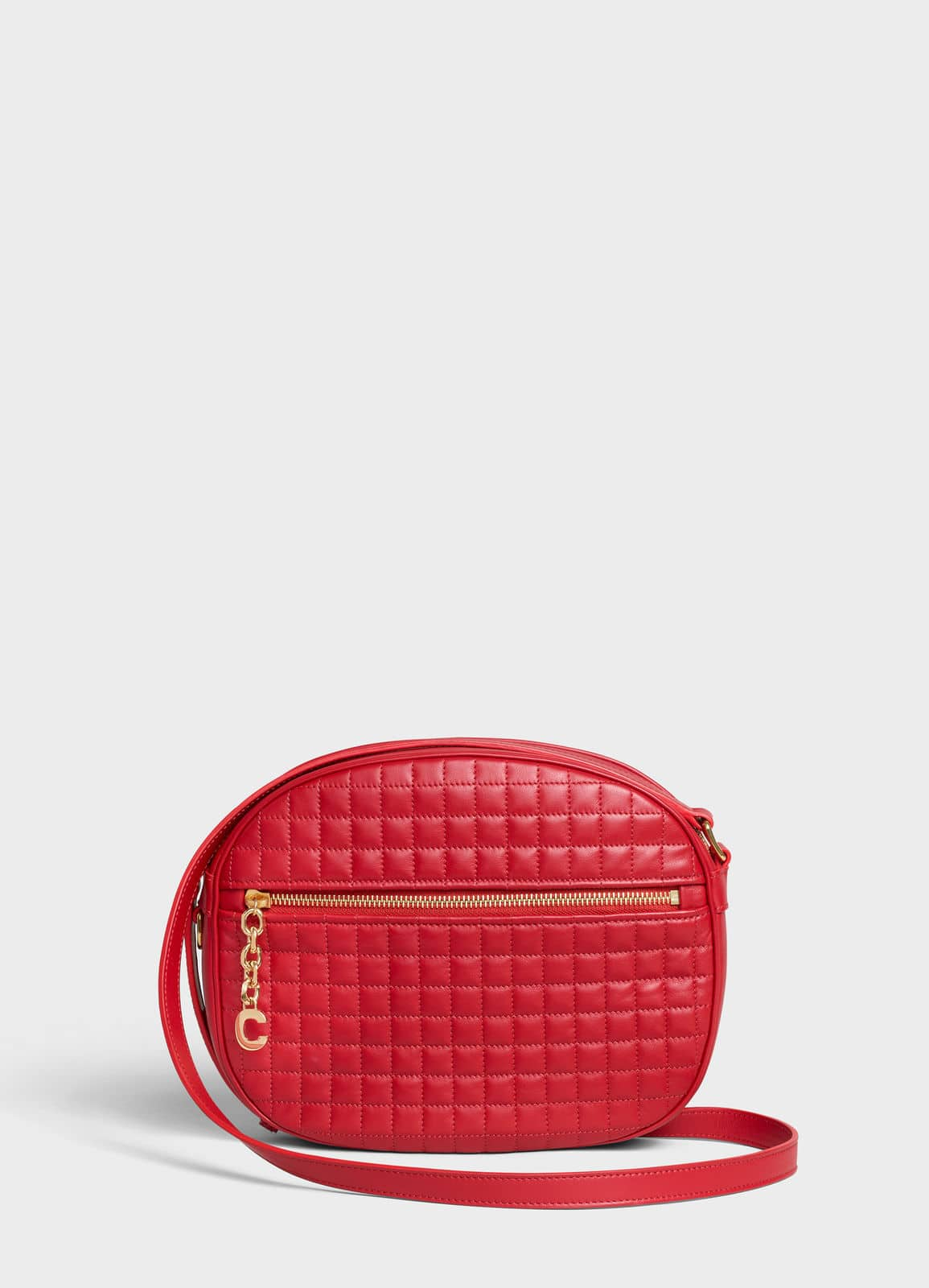 c708a0aff769 Celine Red Quilted Calfskin Medium C Charm Bag