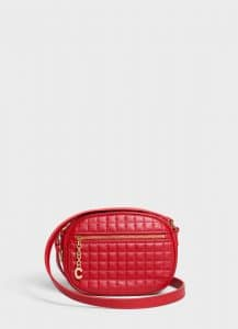 Celine Red Quilted Calfskin Small C Charm Bag