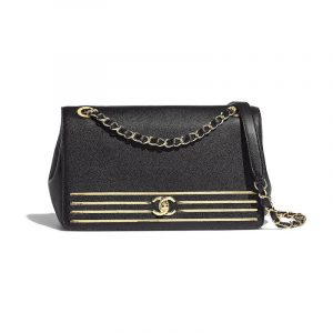 Chanel Black Captain Gold Flap Bag