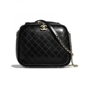 Chanel Black Crumpled Calfskin Vanity Case Bag