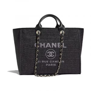 Chanel Black Deauville Shopping Bag