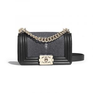Chanel Black Galuchat Boy Chanel Small Flap Bag