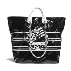 Chanel Black Vinyl La Pausa Bay Large Shopping Bag