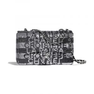 Chanel Black/Satin Embroidered Satin Classic Flap Medium Bag