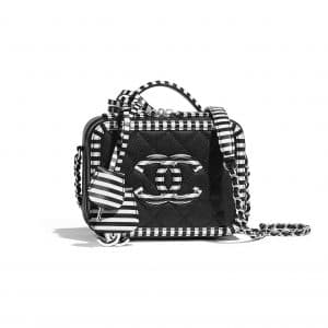 Chanel Black/White CC Filigree Mini Vanity Case Bag