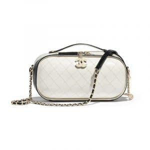 Chanel Black/White Crumpled Calfskin Vanity Case Bag