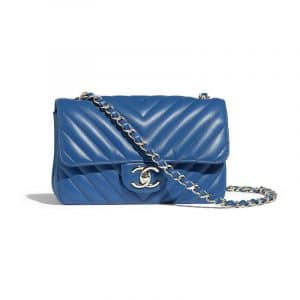 Chanel Blue Chevron Classic Flap Mini Bag