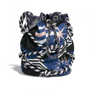 Chanel Blue/Navy Blue/White/Yellow Cotton Drawstring Bag