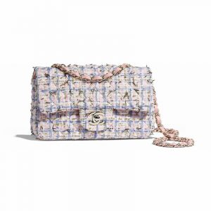 Chanel Blue/Pink/Gold Tweed Classic Flap Mini Bag