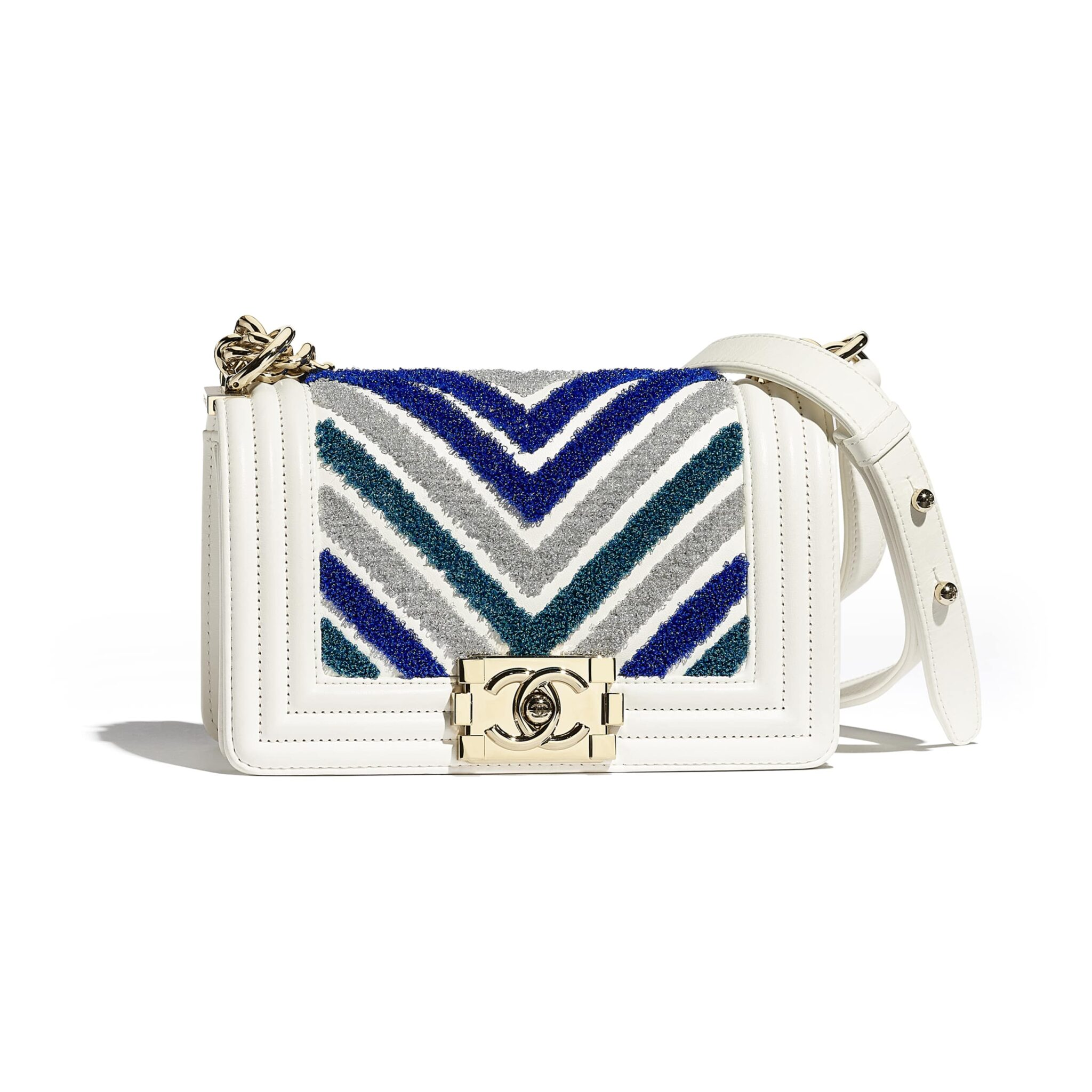 8e1346b665a012 Chanel Blue/White Embroidered Calfskin/Lurex Boy Chanel Small Flap Bag
