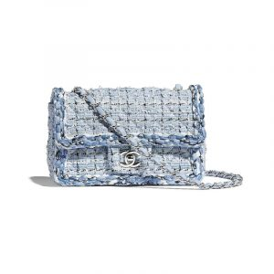 Chanel Blue/White Tweed/Braid Classic Flap Mini Bag