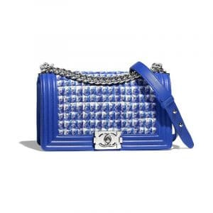 Chanel Blue/White/Silver Tweed Boy Chanel Old Medium Flap Bag