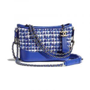 Chanel Blue/White/Silver Tweed Gabrielle Small Hobo Bag