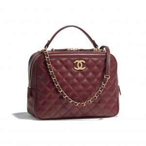 Chanel Burgundy CC Vanity Case Medium Bag