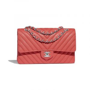 Chanel Coral Chevron Classic Flap Medium Bag
