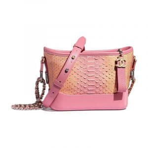 Chanel Coral/Pink Python Gabrielle Small Hobo Bag