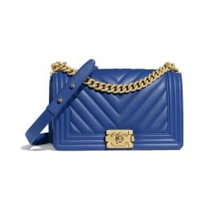 Chanel Dark Blue Chevron Boy Chanel Old Medium Flap Bag