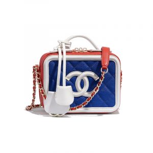 Chanel Dark Blue/White/Red CC Filigree Vanity Case Mini Bag