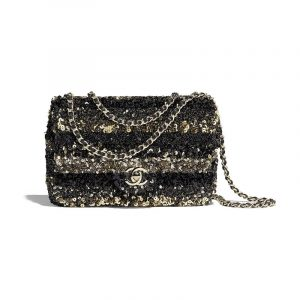Chanel Gold/Black Sequins Mini Flap Bag