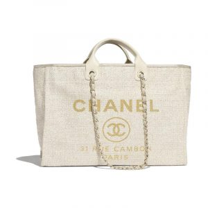Chanel Ivory Deauville Large Shopping Bag