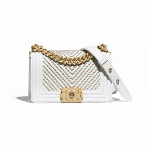 Chanel Ivory Embroidered Boy Chanel Small Flap Bag
