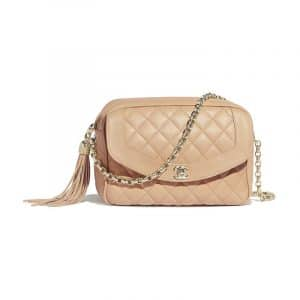 Chanel Light Beige Lambskin Medium Camera Case Bag